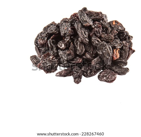 Black raisin over white background - stock photo
