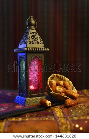 Black Ramadan lantern and dates - stock photo