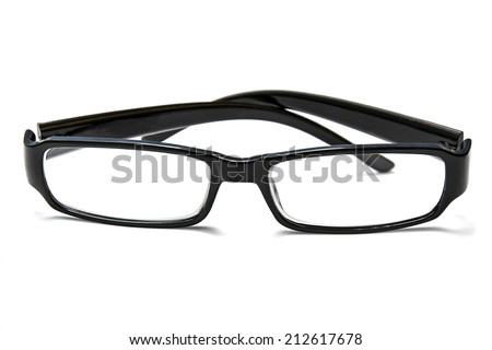 Black reading glasses isolated on white