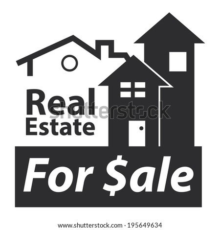 Black Real Estate for $ale Icon, Sign or Label Isolated on White Background  - stock photo