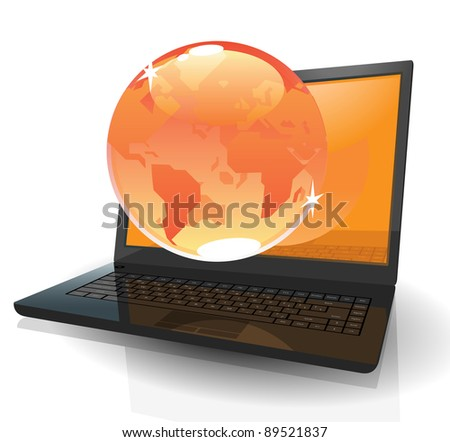 Black realistic laptop with orange Globe. Raster version. Vector version is also available.