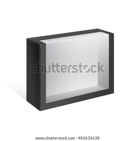 Black Realistic Package Cardboard Box with a transparent plastic window.