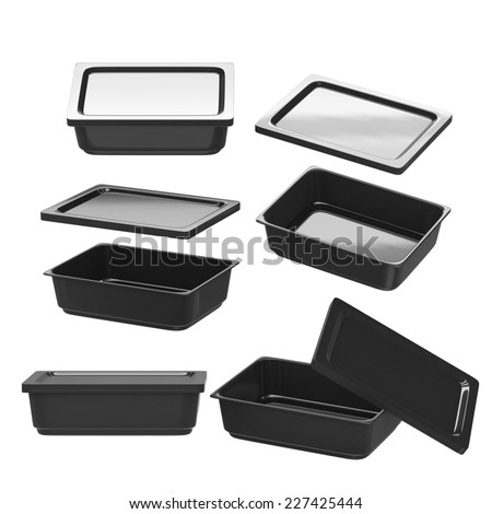 Black rectangle plastic container for food production like fresh food, convenience food or frozen food. Template for  your design or artwork, clipping path included  - stock photo