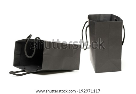 Black recycle paper shopping bag on white background