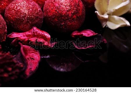 black red Christmas balls background - stock photo