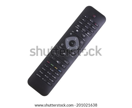 Black Remote Controller on White Background - stock photo