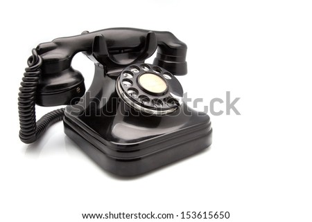 black retro telephone made of Bakelite - stock photo