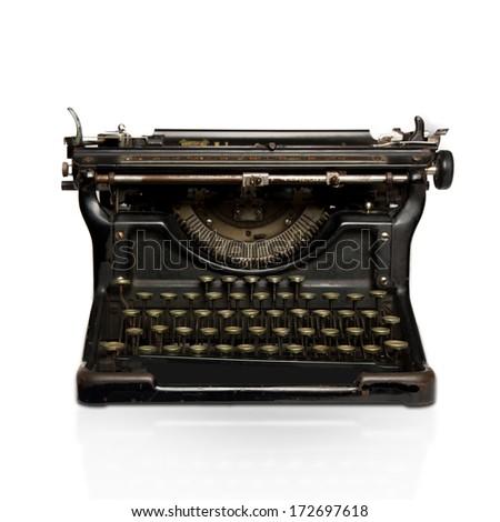 black retro typewriter - stock photo