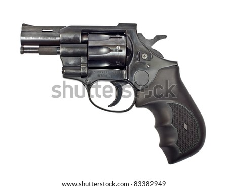 Black revolver gun isolated on white background
