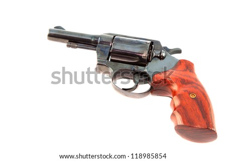 Black revolver gun on white background - stock photo