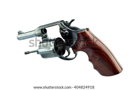 black revolver handgun with bullets isolated on isolate background. (gun target firearms shoot sights violence) - stock photo