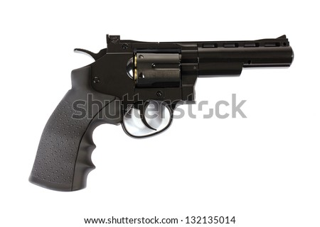 black revolver on a white background