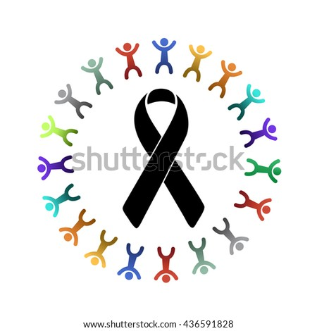 black ribbon and diversity people around. illustration design graphic - stock photo