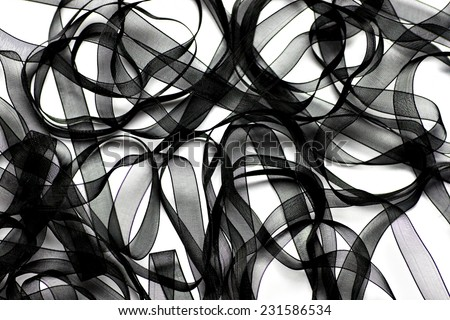 Black Ribbon Background - stock photo