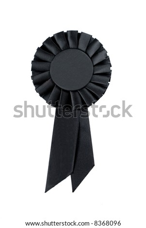 Black Ribbon on White Background - stock photo