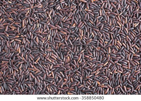 Black rice food background.