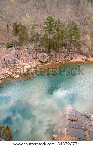 Black River flows through Johnson Shut-ins State Park in Missouri. - stock photo