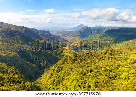 Black River Gorges National Park on Mauritius. It covers an area of 67.54 km². The park protects most of the island's remaining rainforest. - stock photo