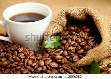 black roasted arabic coffee and cup of hot drink