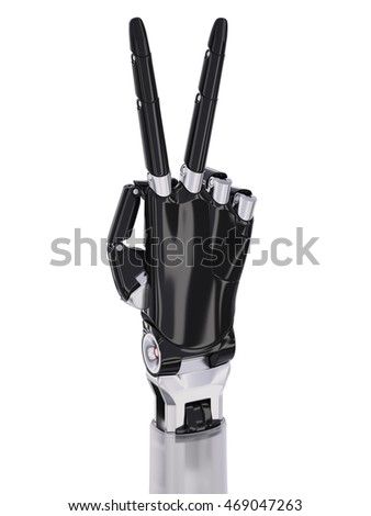 Black Robot Hand Victory or Two Sign Gesture Isolated On White Background 3d Illustration