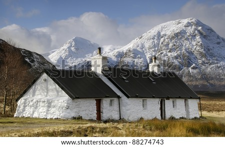 Black Rock Cottage, Glencoe, Scotland - stock photo