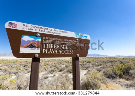BLACK ROCK DESERT, NV, SEPTEMBER 3: Entry sign post with clear blue sky at the entrance of la Playa in the Black Rock desert in the state of Nevada. USA 2012