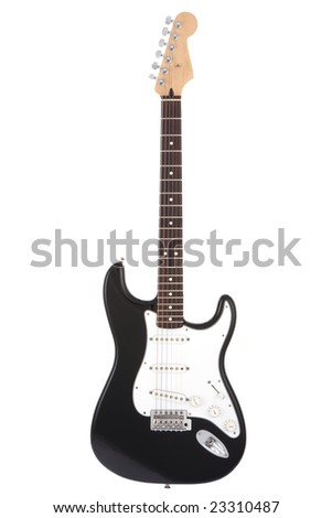 Black rock guitar isolated on white - stock photo