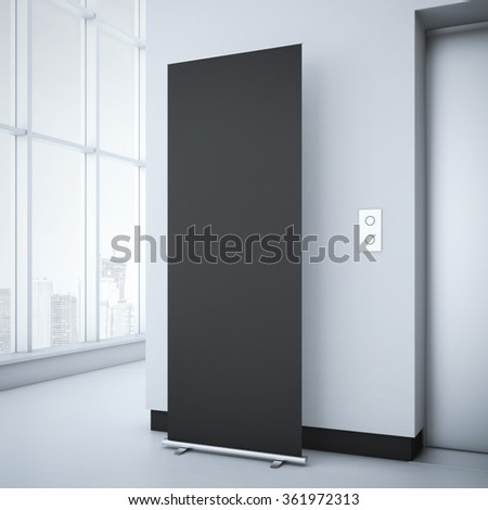 Black roll up in bright office interior. 3d rendering