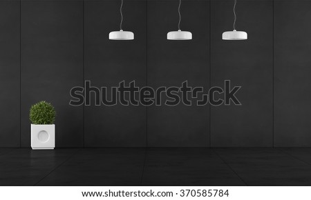 Black room with wall blackboard paneling,chandeliers and plant - 3D Rendering - stock photo