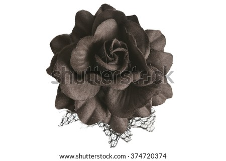 black rose flower from tissue isolated on a white background - stock photo