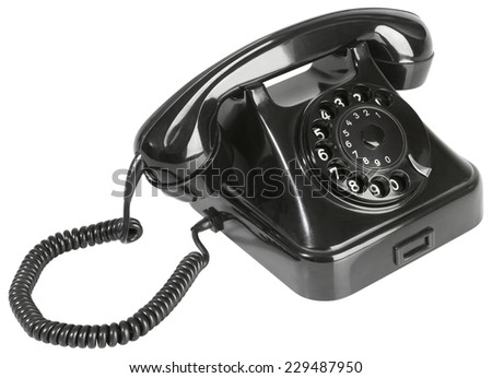 Black Rotary Phone Isolated on White Background - stock photo