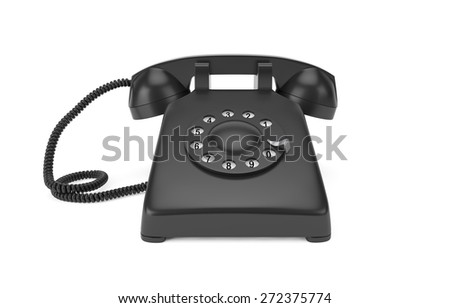 Black rotary phone isolated on white with clipping path