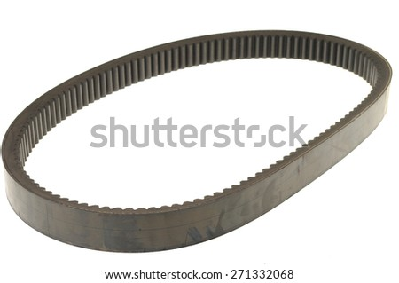 black rubber car belt isolated on white - stock photo