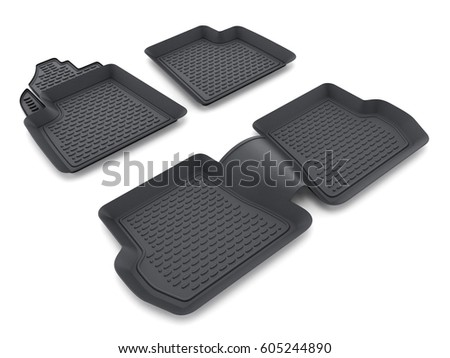 black rubber car mats isolated on white background 3d