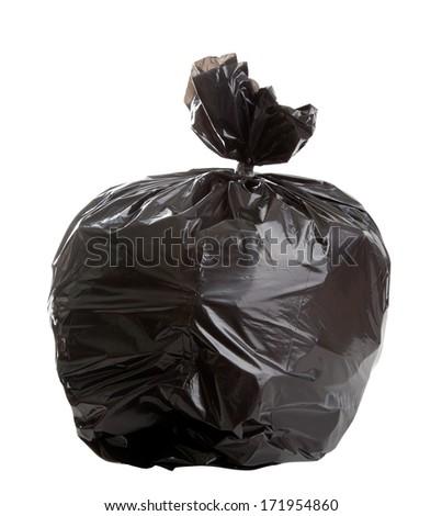 Black Rubbish Bag on white background - stock photo