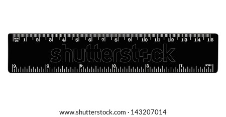 Black ruler isolated, inches, centimeters, millimeters, imperial and metric distance length units, cm and mm marks, detailed macro  closeup, white numbers on plastics - stock photo