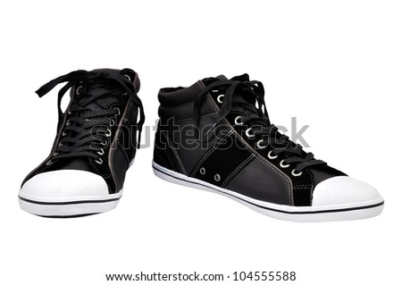 black running shoes on a white background