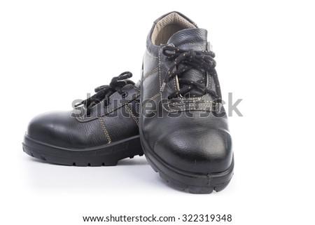 Black Safety Shoe Isolated on Over White Background - stock photo