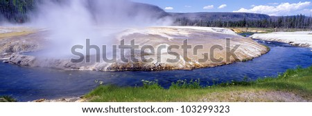Black Sand Basin and geyser in Yellowstone, Montana