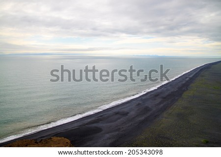 Black sand beach located in Vik Iceland.