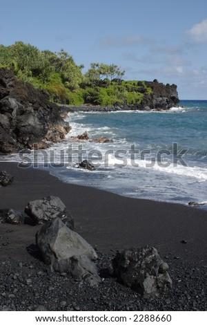 Black Sand Beach -Waianapanapa State Park - stock photo