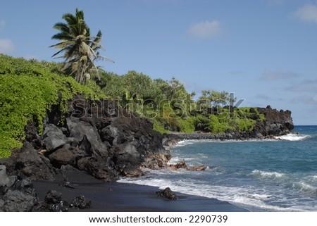 Black Sand Beach - Waianapanapa State Park - stock photo