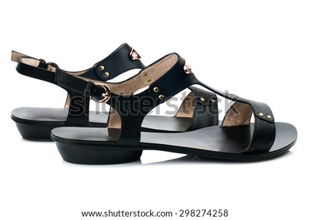 Black sandals isolated on white background.