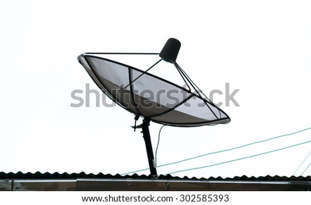Black Satellite dishes and antennas on the roof.