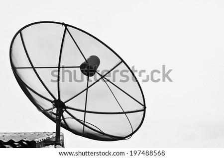 black satellite on white background - stock photo