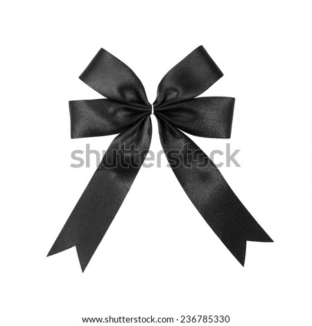black satin Ribbon bow Isolated on white - stock photo
