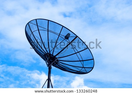 Black Sattelite Dish with blue sky - stock photo