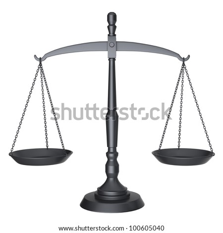 Black scales of justice isolated on white background with clipping path.