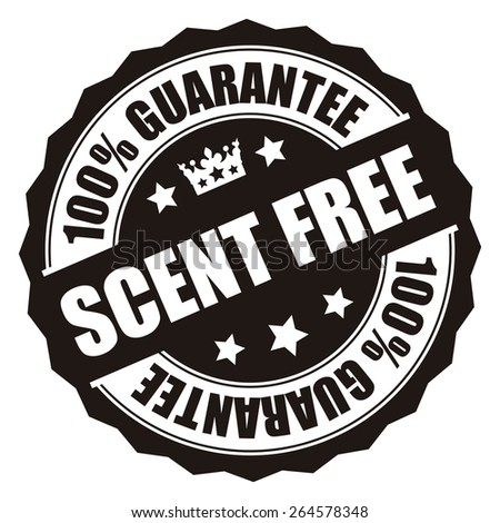 Black Scent Free 100% Guarantee Badge, Banner, Sign, Tag, Label, Sticker or Icon Isolated on White Background - stock photo