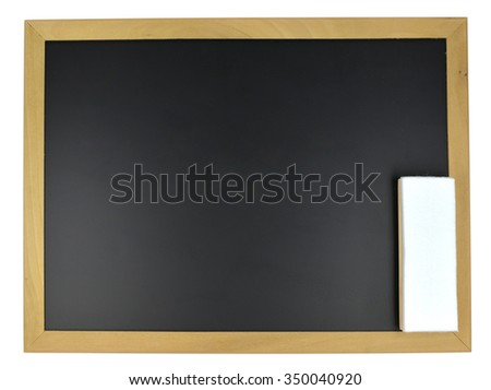 Black School Chalk and magnet Board with eraser - stock photo